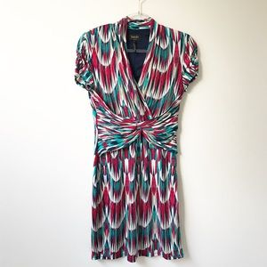 Laundry by Shelli Segal Draped Print V Neck Dress